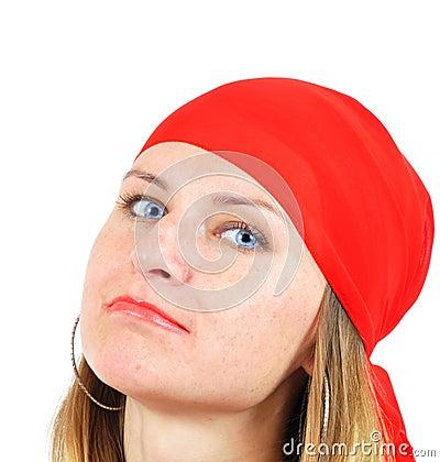 Nice girl in red kerchief