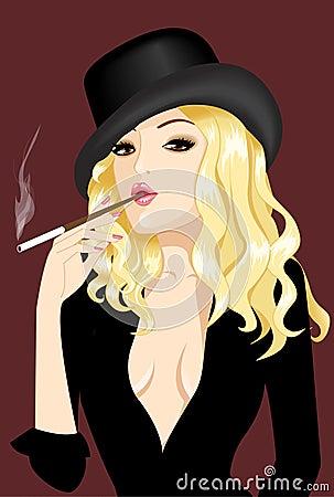 Nice girl smoke cigar in hat