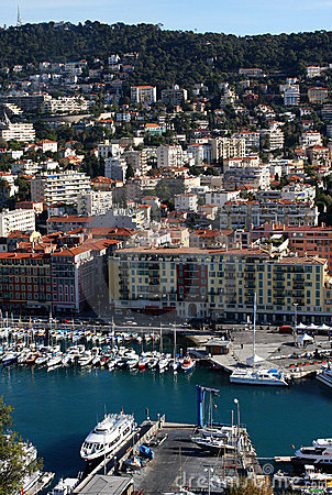 Nice harbour and city view, France