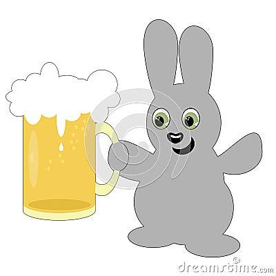 Nice hare with beer mug