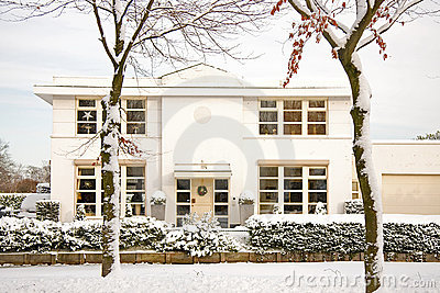 Nice house in the snow