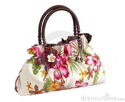 Nice lady flower pattern handbag isolated