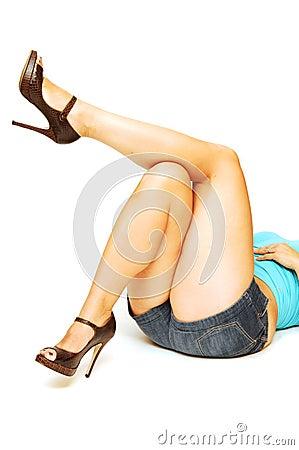 Nice legs laying on the floor.