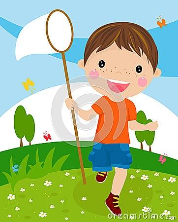 Nice little boy with butterfly net
