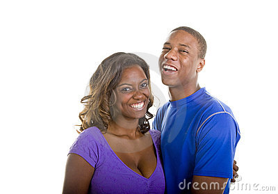 Nice Looking Black Couple Laughing