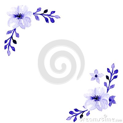 Watercolor violet flowers card with two branches Stock Photo