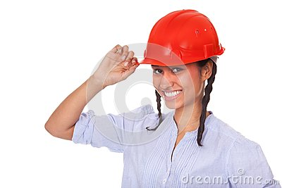 Nice multi-ethnic girl in red hard hat