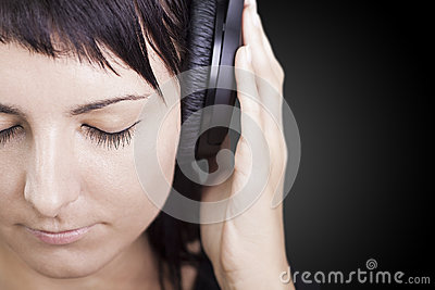 Nice Music. Woman enjoying music.