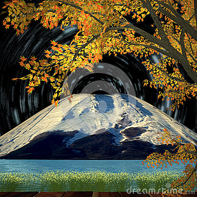 Nice night view with Beautiful mountain and maple