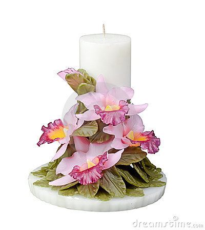 Orchid flower candle isolated