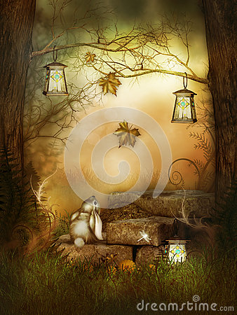 A nice rabbit in the fairytale wood