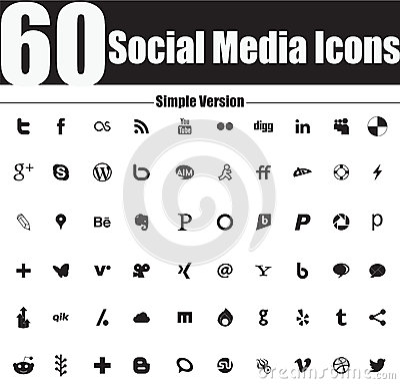 60 Social Media Icons  Simple Version Editorial Photo