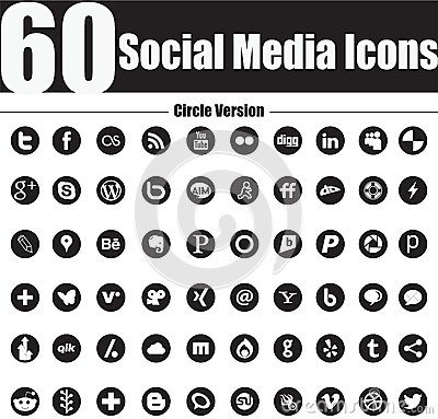 60 Social Media Icons  Circle Version Editorial Image