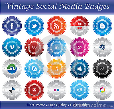Vintage Social Media Badges Editorial Stock Image
