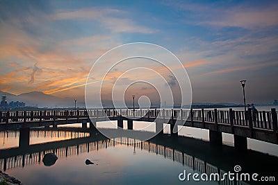 Nice Sunrise with nice sky, the new Taipei, Taiwan