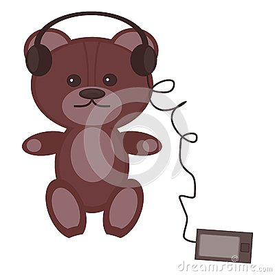 Nice teddy bear with headphones and player