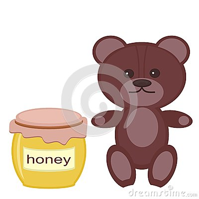 Nice teddy bear with honey on white