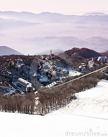 A nice village on snowy italian mountains