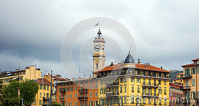 Nice - wide angle view on old tower