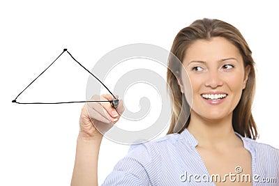 Nice woman drawing a triangle