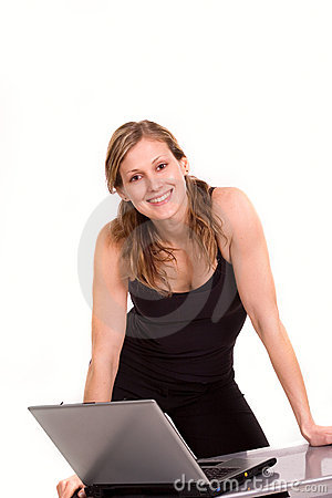 Nice woman expressing positivity with laptop
