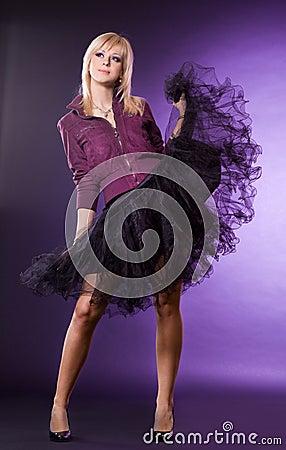 Nice woman on violet