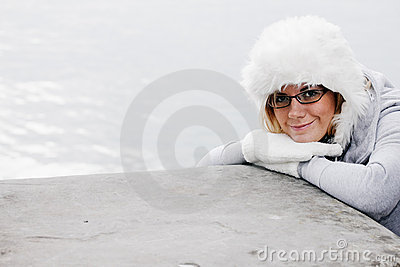 Nice woman with wool cap