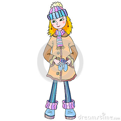 Nice young girl in winter wear
