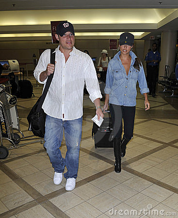 Nick Lachey with girlfriend Vanessa Manillo at LAX Editorial Photography