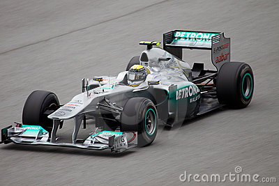 Nico Rosberg on a high speed straight Editorial Stock Photo