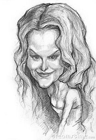 Nicole Kidman caricature Editorial Stock Photo