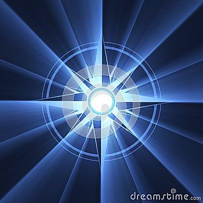 Niebieski kompasowy rozbłysku symbol gwiazdy