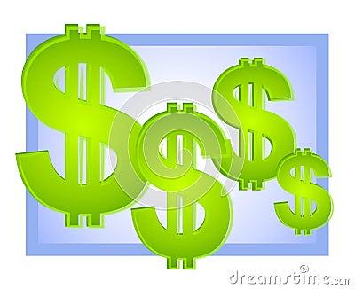 Niebieskie tło dolara znaków