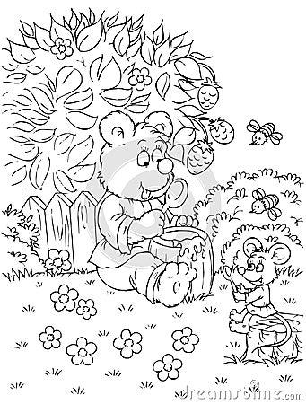 Niedźwiedź je miodowej myszy