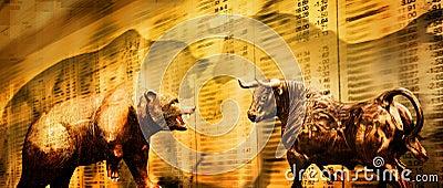 Niedźwiadkowy byka rynku zapas