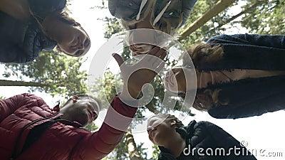 Niepłonni trekkers rozwesela wysokości pięć pracy zespołowej gest z rękami i robi zespalają się na mountaineering turniejowej pla zdjęcie wideo