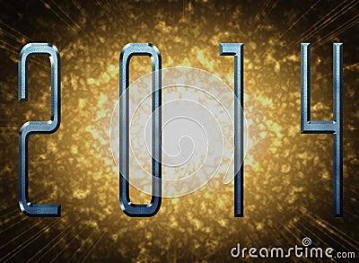 Nieuw jaar 2014 met metaaleffect en explosie