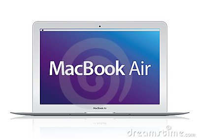 Nieuwe laptop van het Boek van Apple Mac van de Lucht (2010) computer Redactionele Foto