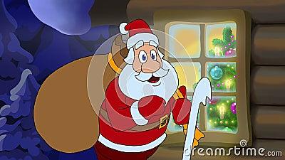Nieuwjaar geanimeerde kaart met beeldverhaalkarakter Santa Claus stock video