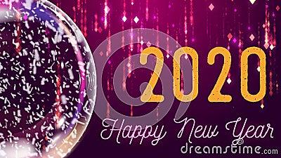 Nieve globo e inscripción `Feliz año nuevo 2020', fondo rosa y lila con caída de partículas de lluvia almacen de video