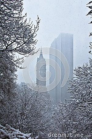 Nieve que cae sobre árboles y edificios Imagen de archivo editorial