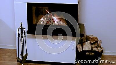 Niezły widok na płonące drewno w ogniu Wspaniałe tła zdjęcie wideo