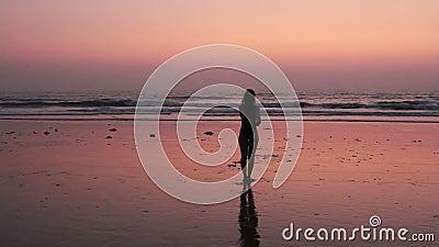 Niezidentyfikowanej kobiety ćwiczy karate na plaży zdjęcie wideo