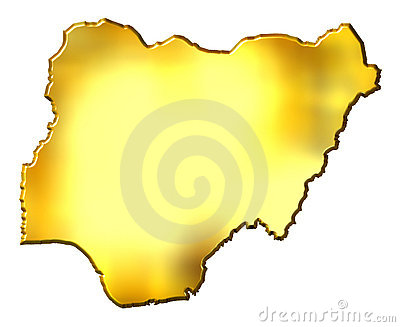 Nigeria 3d Golden Map