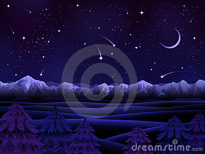 Night alpine scenery