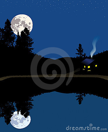 Free Night At The Lake Mountain Cabin Royalty Free Stock Photography - 1208877