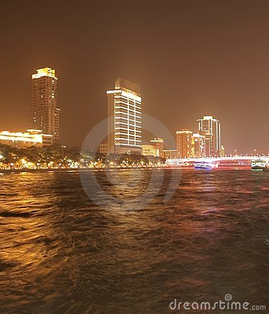 Free Night At Zhujiang River In Guangzhou China Royalty Free Stock Photos - 18293508