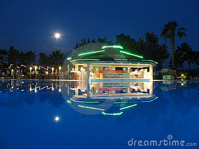 Night bar on summer beach