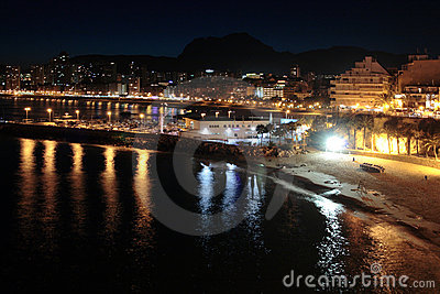 Night beach and city in Spain