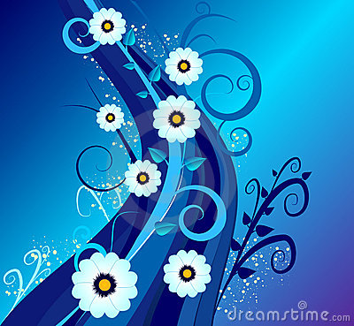 Night blue vector  floral design